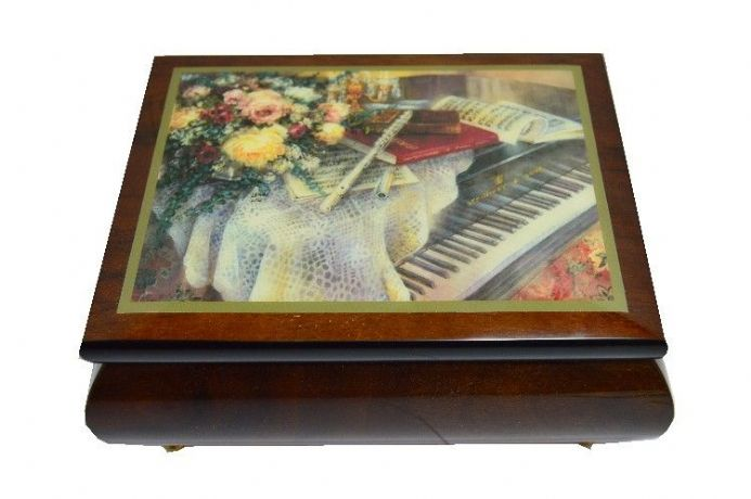 Harmonic Duet - Piano and Flute Design Musical Jewellery Box.